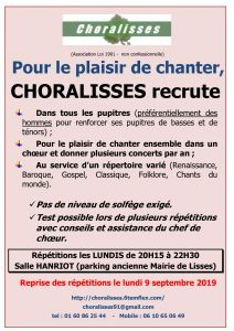 Saison 2019-20120 : Choralisses recrute !!